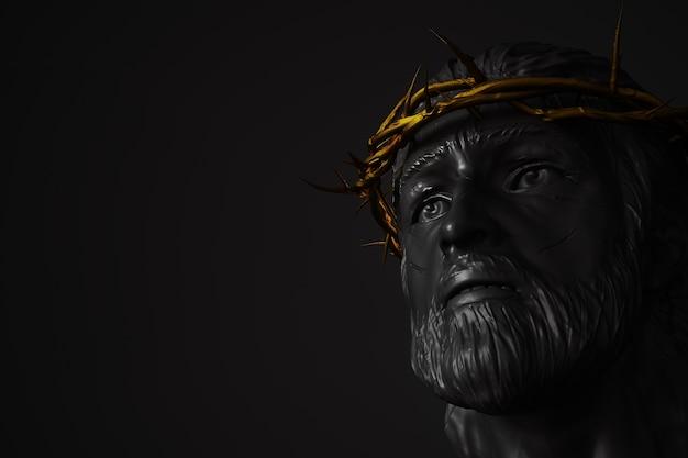 Estátua de jesus cristo com gold crown of thorns renderização em 3d