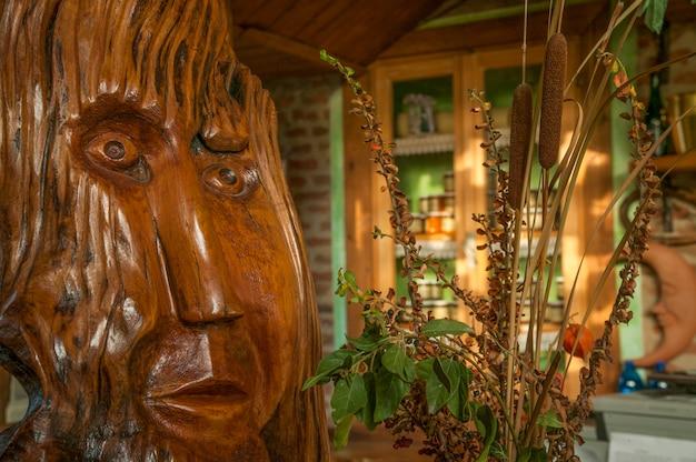 Estátua de madeira do espírito ayahuasca