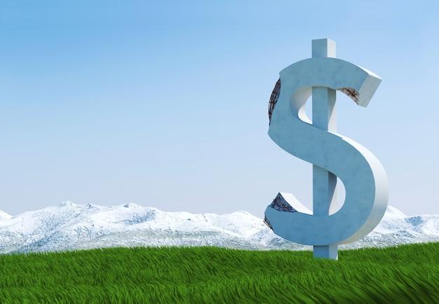 Estátua de sinal de dólar de concreto danificado isolada no prado de grama, imagem conceitual