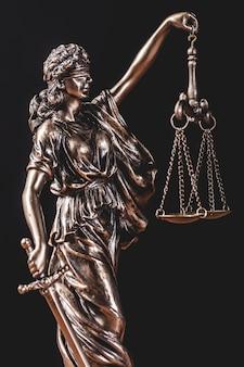 Estátua de themis segurando uma balança