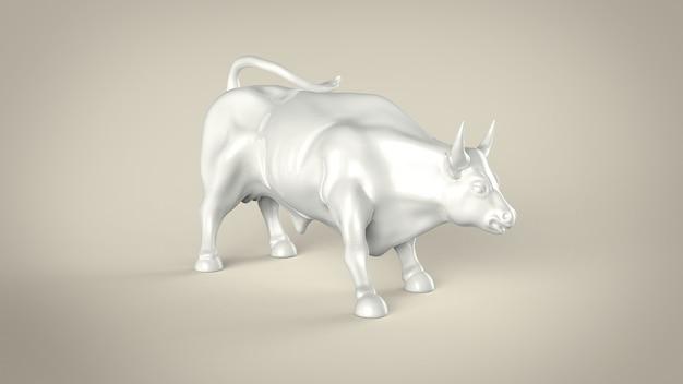Estátua de touro de cerâmica branca