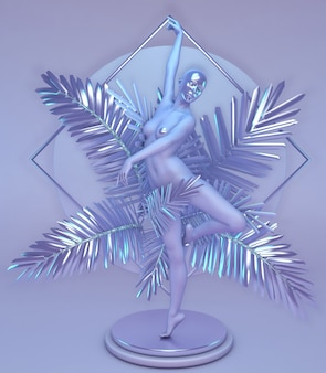 Estátua de uma mulher com uma máscara no rosto dançando em palmas roxas brilhantes no pedestal composição vertical geométrica arte abstrata digital