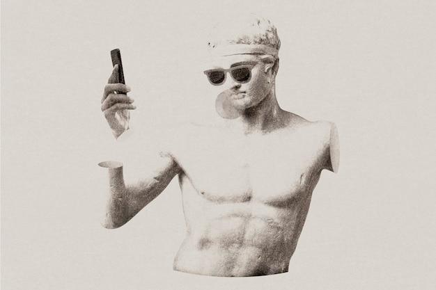 Estátua grega com mídia remixada de efeito risógrafo