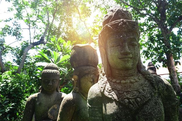 Estátuas de buda escondidas nas folhas da selva tropical com neblina pela manhã