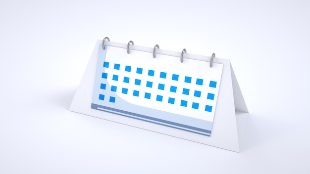 Estatueta 3d do calendário. calendário normal da área de trabalho. calendário espiral