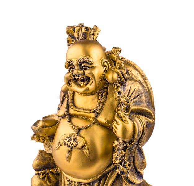 Estatueta alegre hotei. deus chinês da riqueza.