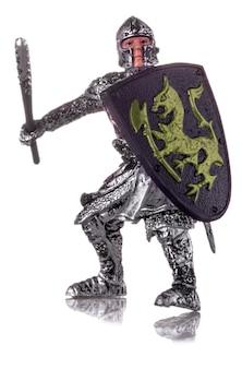 Estatueta de um cavaleiro medieval isolado