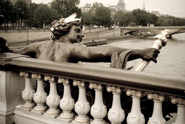 Estatueta, pont, alexander iii, ponte, em, frança paris