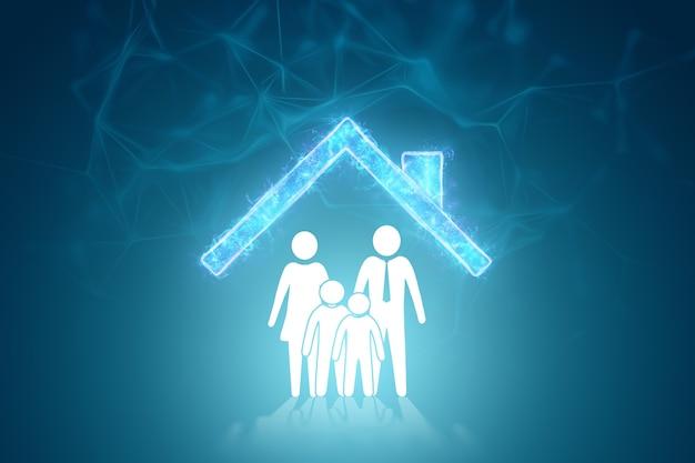 Estatuetas brancas planas de uma família em um fundo de uma casa em um fundo azul.