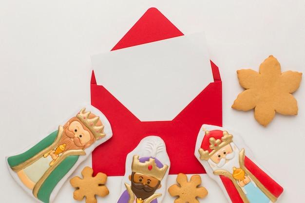 Estatuetas comestíveis de biscoito realeza e biscoito de floco de neve