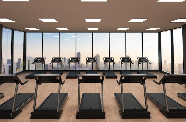 Esteiras de renderização 3d ou máquinas de corrida em academia de ginástica