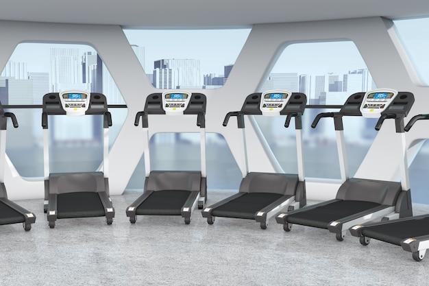 Esteiras no interior da moderna academia de ginástica com janelas grandes closeup extrema. renderização 3d