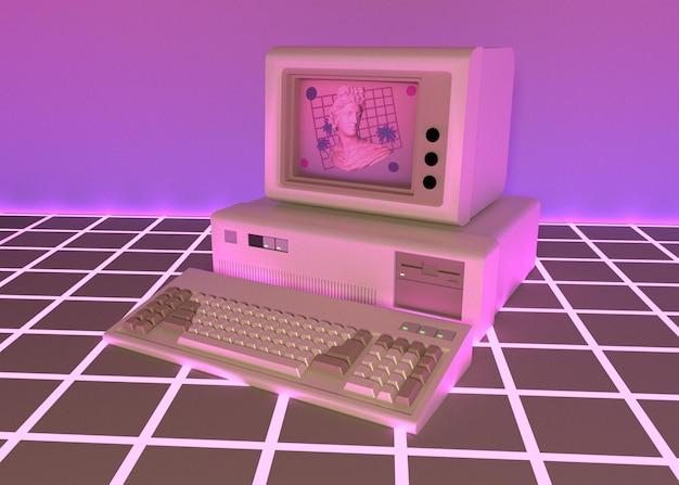 Estética 3d com formas em estilo vaporwave