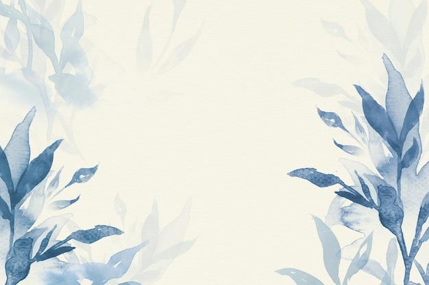 Estética de fundo de folha em aquarela azul, temporada de inverno