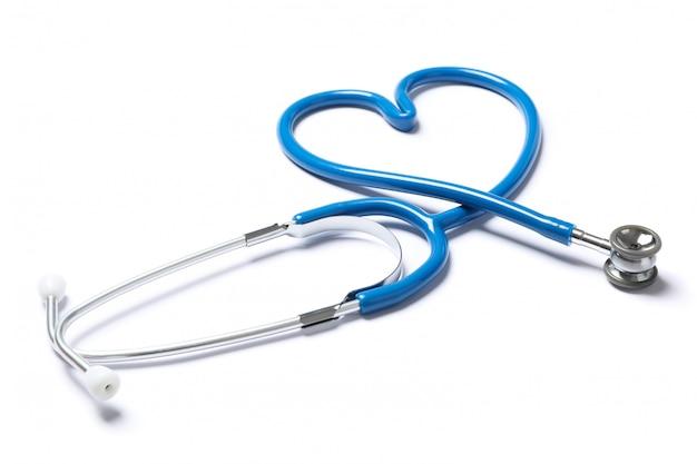 Estetoscópio azul isolado no fundo branco. cuidados de saúde