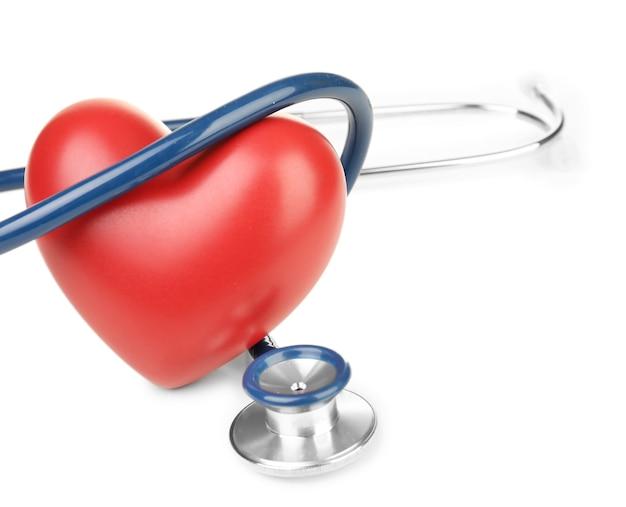 Estetoscópio com coração em branco