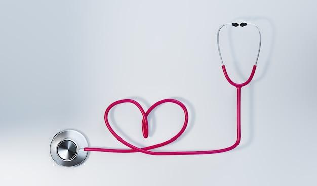 Estetoscópio com formato de coração rosa em fundo branco, conceito médico, renderização de ilustração 3d