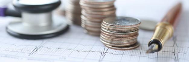 Estetoscópio de cardiograma e moedas repousam no conceito de serviços de cardiologia pagos de mesa