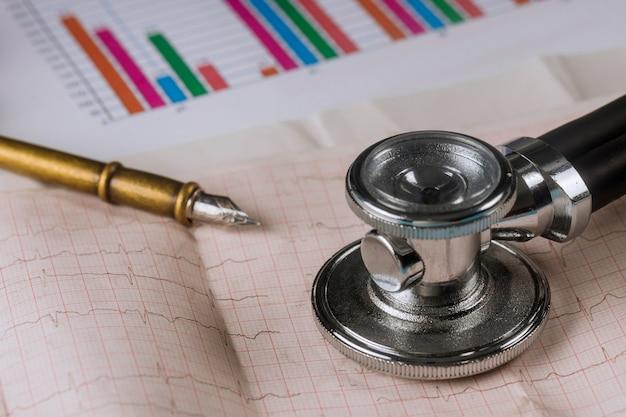 Estetoscópio de médico no local de trabalho em closeup de folha de eletrocardiograma