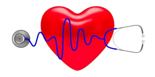 Estetoscópio e coração em fundo branco. ilustração 3d isolada