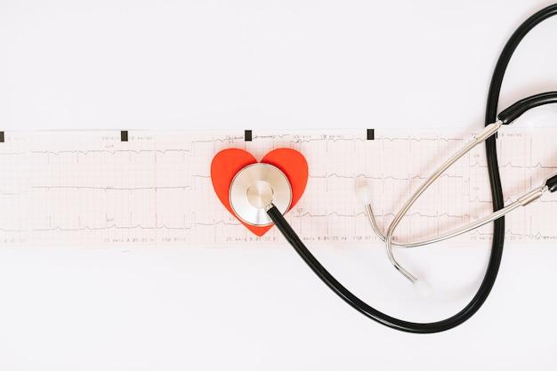 Estetoscópio e coração no eletrocardiograma
