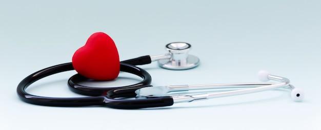 Estetoscópio e coração vermelho na mesa cinza. conceito de saúde e medicina