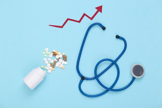 Estetoscópio e frasco de comprimidos com seta de crescimento cuidando de um azul