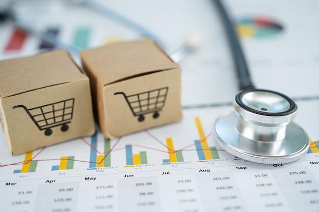 Estetoscópio e logotipo do carrinho de compras na caixa com plano de fundo do gráfico. conta bancária, economia de dados de pesquisa analítica de investimento, comércio, conceito de empresa on-line de importação exportação de negócios.