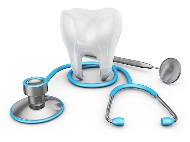 Estetoscópio e um dente em um fundo branco,