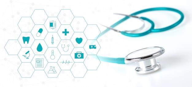 Estetoscópio e verde ícone médica