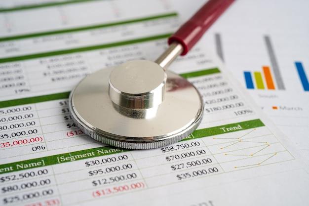 Estetoscópio em folha de cálculo estatísticas de contas financeiras