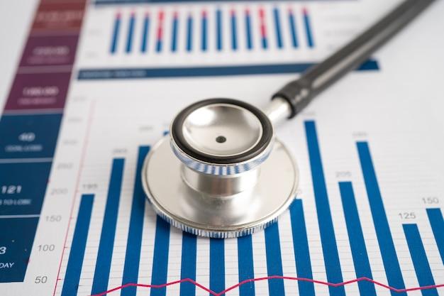 Estetoscópio em gráficos e papel gráfico estatísticas de contas financeiras