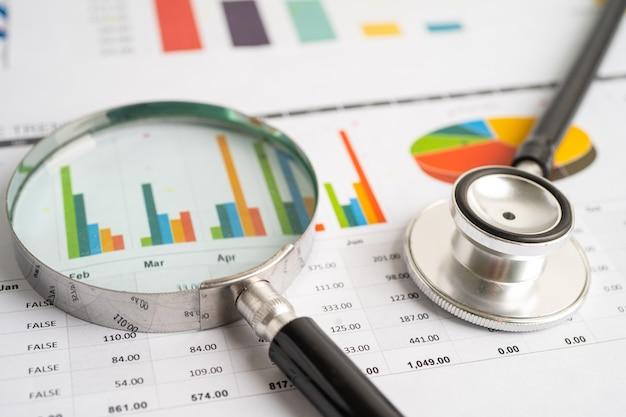 Estetoscópio em gráficos e papel gráfico finanças conta estatísticas investimento