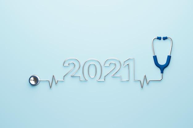Estetoscópio médico com ano de 2021 em ilustração 3d de fundo azul claro