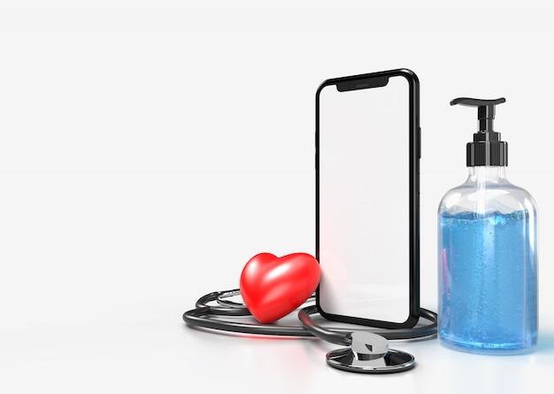 Estetoscópio médico com um coração vermelho, smartphone e gel desinfetante para as mãos, para a proteção da higiene das mãos, espalhar bactérias germes e evitar infecções vírus corona covid-19