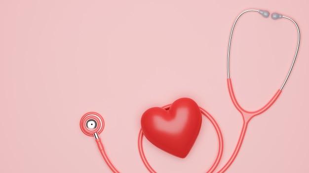 Estetoscópio médico de saúde com coração vermelho e espaço de cópia para suas marcas no fundo rosa