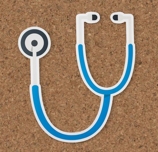 Estetoscópio, saúde, e, hospitalar, ícone