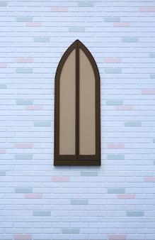 Estilo antigo da janela de madeira na parede de tijolo branca com alguma cor diferente.
