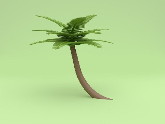 Estilo baixo dos desenhos animados do poli da árvore de coco 3d fundo verde da rendição 3d