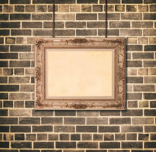 Estilo barroco do frame de retrato dourado.