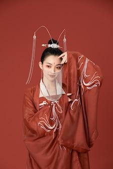 Estilo chinês hanfu dança de beleza antiga