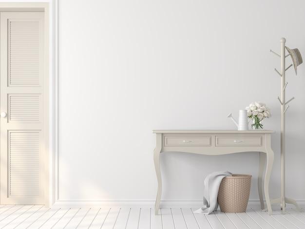 Estilo clássico branco vazio interior 3d renderdecore com gabinete de cor bege