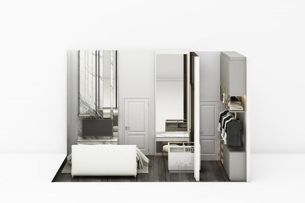 Estilo clássico moderno de quarto interior com móveis brancos em branco renderização em 3d