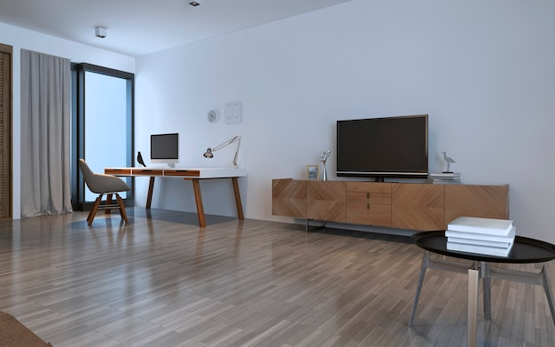 Estilo contemporâneo da sala de trabalho. interior luminoso. renderização 3d
