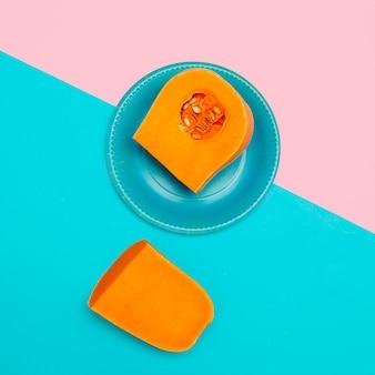 Estilo de arte minimalista de abóbora crua vegan