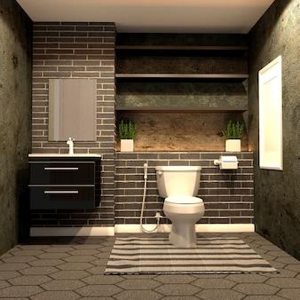 Estilo de banheiro loft com tijolo preto no chão de ladrilho hexagonal. renderização 3d