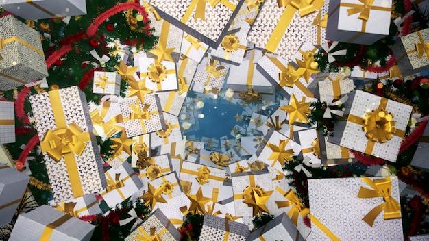 Estilo de caixa de presente de natal art deco background e papel de parede no natal e comemorar. Foto Premium