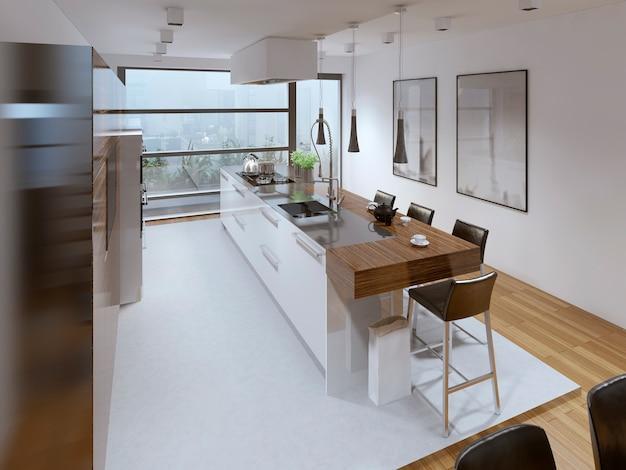 Estilo de cozinha contemporâneo e barra de ilha de cozinha funcional.