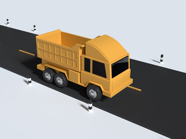 Estilo de desenho animado caminhão amarelo na renderização 3d mínima de estrada
