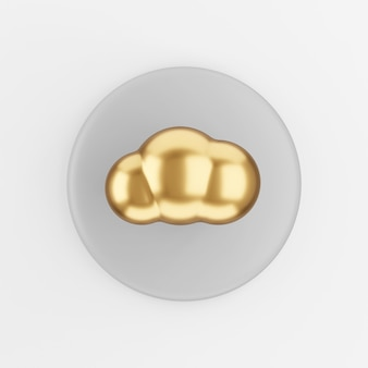 Estilo de desenho animado do ícone de nuvem de ouro. botão chave redondo cinza de renderização 3d, elemento interface ui ux.